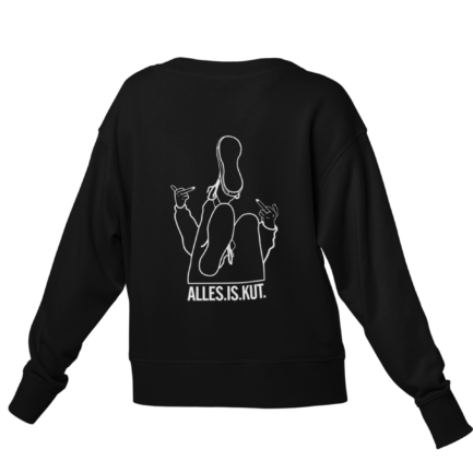 Alles is kut sweater zwart - illustratie achterkant